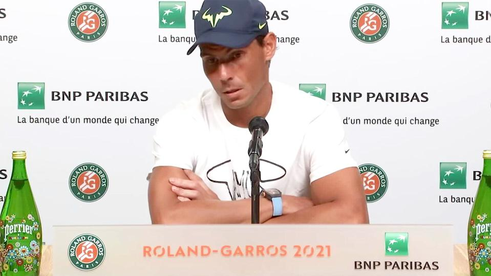 Rafa Nadal (pictured) answering questions in his post-match press conference at Roland Garros.