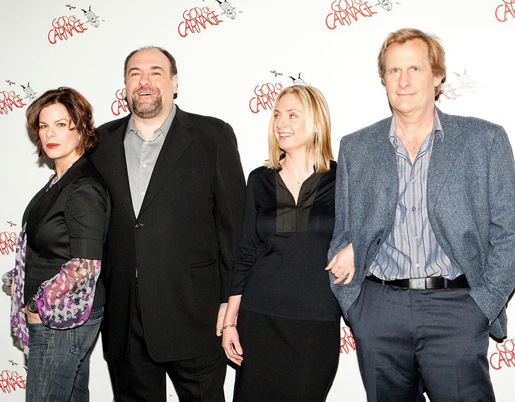Marcia Gay Harden, James Gandolfini, Hope Davis, Jeff Daniels at a public appearance for GOD OF CARNAGE Cast Photo Call, Hilton Theatre, New York, NY 2/20/2009. Photo By: Jason Smith/Everett Collection