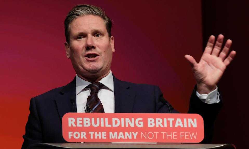 Keir Starmer delivers his speech on the third day of Labour's conference in Liverpool.
