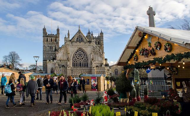 "<p>Devon's ancient city holds its Christmas market outside its famed Cathedral, making for an atmospheric experience for visitors. Pick up a range of local, handcrafted gifts displayed at the 90 stalls, or sample everything from roast hog to mulled apple gin at the Food Village before heading inside the Cathedral itself to marvel at its grand architecture. See <u><a href=""https://www.exeter-cathedral.org.uk/news-events/whats-on/"" rel=""nofollow noopener"" target=""_blank"" data-ylk=""slk:exeter-cathedral.org.uk"" class=""link rapid-noclick-resp"">exeter-cathedral.org.uk</a></u>. [Photo: Flickr/<a href=""https://www.flickr.com/photos/levettday/"" rel=""nofollow noopener"" target=""_blank"" data-ylk=""slk:Alison Day]"" class=""link rapid-noclick-resp"">Alison Day]</a> </p>"