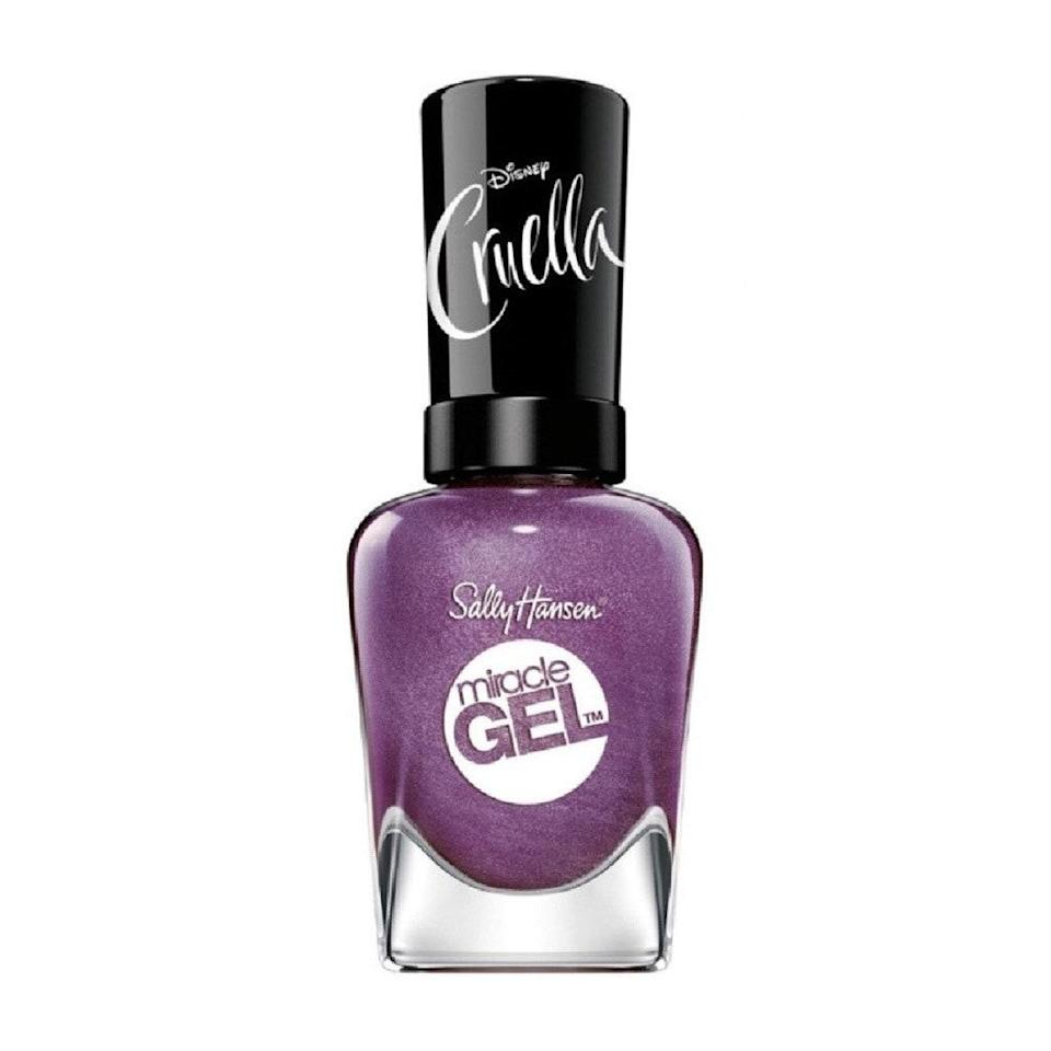 <em>Cruella</em> collaborations were inevitable this year — and that's a good thing, because it means Sally Hansen had the opportunity to create a collection with colors like Fame & Fortune. This shimmering grape hue is a fun and fancy take on purple, and thanks to the Miracle Gel formula, it's not going anywhere for a solid week.