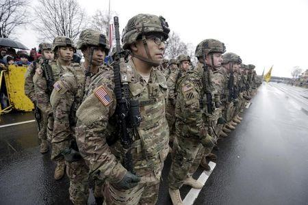 U.S. troops participate in Latvia's Independence Day military parade in Riga