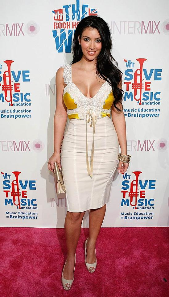 "As usual, Kim Kardashian was busting out all over as she arrived for the VH1 Rock Honors Exclusive VIP Party at Intermix in L.A. Jean Baptiste Lacroix/<a href=""http://www.wireimage.com"" target=""new"">WireImage.com</a> - July 11, 2008"