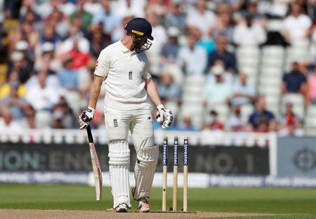 Cricket - England vs West Indies - First Test - Birmingham, Britain - August 17, 2017   England's Mark Stoneman walks off dejected after losing his wicket   Action Images via Reuters/Paul Childs