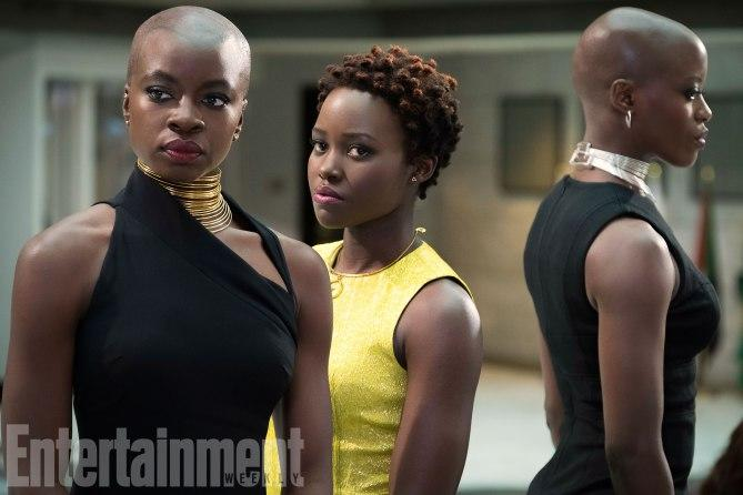 L to R: Okoye (Danai Gurira), Nakia (Lupita Nyong'o) and Ayo (Florence Kasumba) (Credit: Entertainment Weekly, Matt Kennedy/©Marvel Studios 2018)