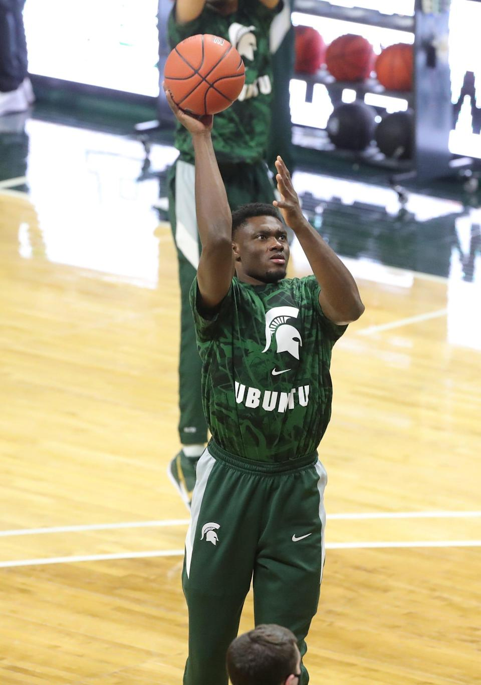 Michigan State Spartans center Mady Sissoko warms up before action against Purdue at Breslin Center in East Lansing, Friday, Jan. 8, 2021.