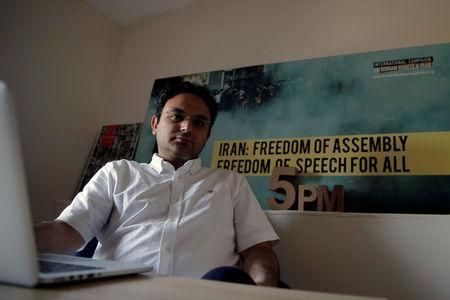 Amir Rashidi, an Internet security researcher who has worked with Telegram users who were victims of hacking, poses for a photograph at the offices of International Campaign for Human Rights in Iran in the Brooklyn borough of New York, U.S., July 27, 2016. REUTERS/Brendan McDermid