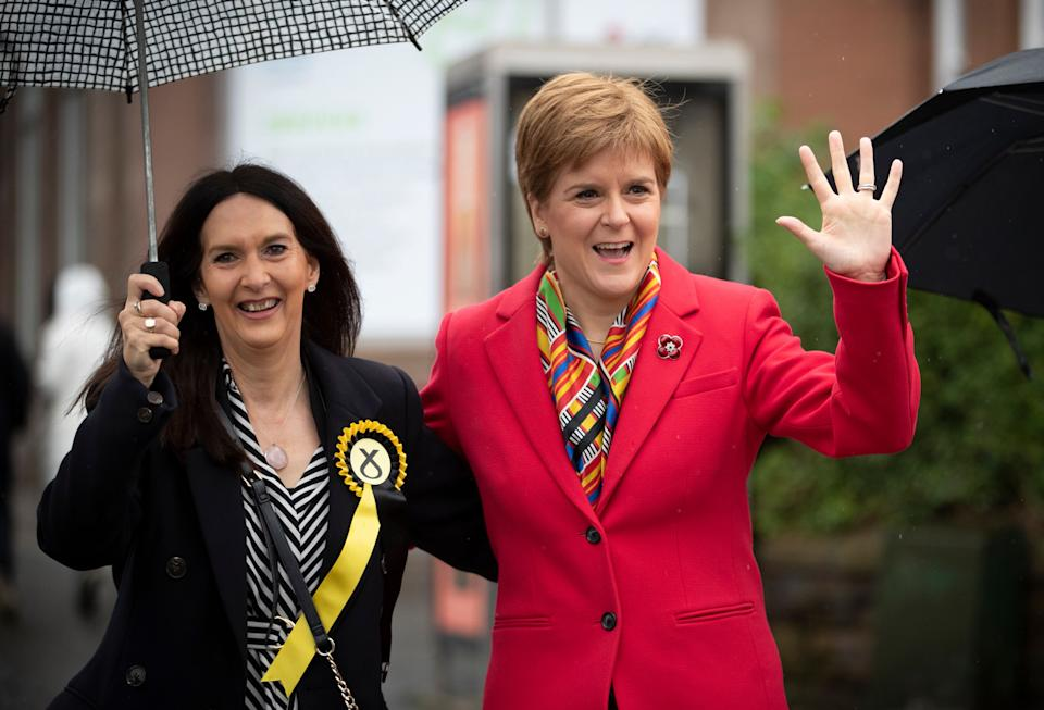 SNP leader Nicola Sturgeon (right) with Margaret Ferrier. (Photo: PA)