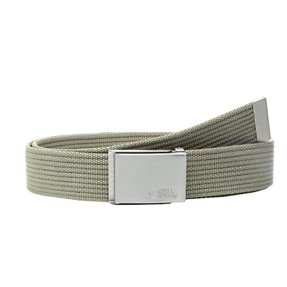 """<p><strong>Fjallraven</strong></p><p>amazon.com</p><p><strong>$19.96</strong></p><p><a href=""""https://www.amazon.com/dp/B07623GL55?tag=syn-yahoo-20&ascsubtag=%5Bartid%7C2139.g.36521961%5Bsrc%7Cyahoo-us"""" rel=""""nofollow noopener"""" target=""""_blank"""" data-ylk=""""slk:BUY IT HERE"""" class=""""link rapid-noclick-resp"""">BUY IT HERE</a></p><p>If you're on the hunt for something more utilitarian, we love Fjallraven's canvas belt. This one-size-fits-all piece features nickel-free metal hardware and can be easily shortened to your desired length—and with 10 bold colorways available, you'll definitely find the right shade for you. <br></p>"""