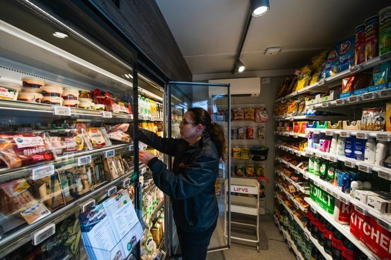 Domenica Gerlach, who manages the Veckholm store, only comes by once a week to receive deliveries