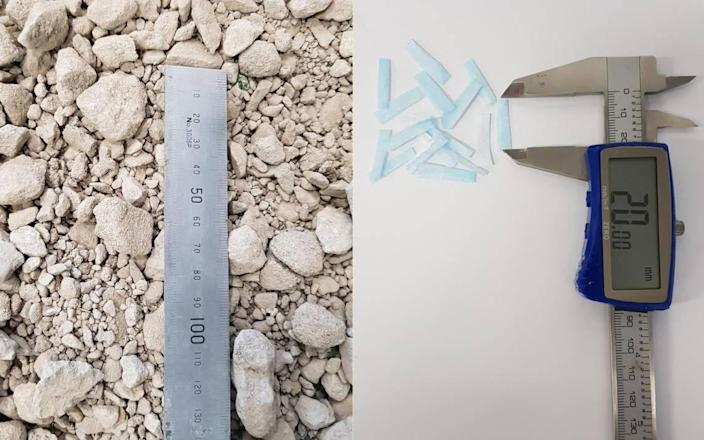 The new material combines small strips of recycled concrete aggregates (left) and sliced ​​disposable face masks (right).