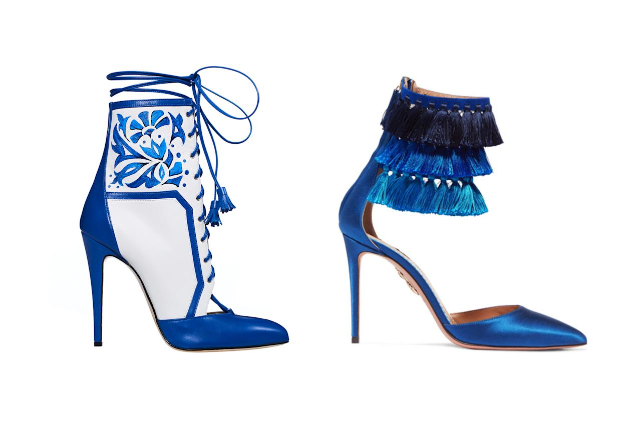 "<p>Brian Atwood for Victoria's Secret ""Porcelain Angel"" boots, left, and Aquazzura + Claudia Schiffer Loulou's tasseled satin pumps, <a rel=""nofollow"" href=""https://www.net-a-porter.com/us/en/product/976988/aquazzura/--claudia-schiffer-loulou-s-tasseled-satin-pumps"">$850 Net-a-Porter</a> (Photo: Victoria's Secret/Net-a-Porter) </p>"
