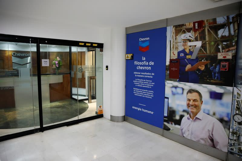 FILE PHOTO: The logo of Chevron is seen in their office in Caracas