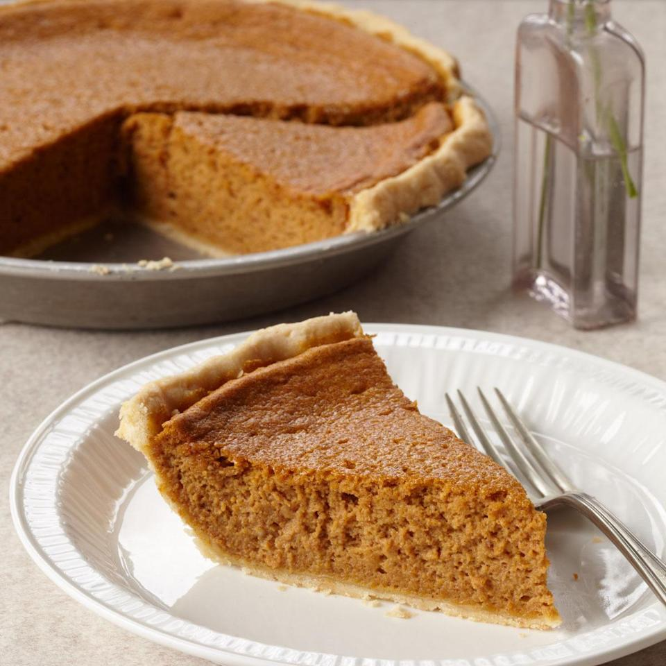"""<p>This silky pie's crust becomes extra crispy if you partially bake the pie shell before adding the filling. The crust can also easily swapped into other recipes if you've got a favorite filling. <a href=""""http://www.foodandwine.com/recipes/pumpkin-chiffon-pie"""" rel=""""nofollow noopener"""" target=""""_blank"""" data-ylk=""""slk:Learn how to make Food & Wine's Pumpkin Chiffon Pie here."""" class=""""link rapid-noclick-resp""""><b>Learn how to make Food & Wine's Pumpkin Chiffon Pie here</b>. </a>(<i>Photo: Lucy Schaeffer)</i></p>"""