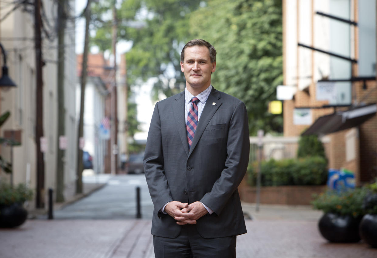 Charlottesville Mayor Michael Signer on the Downtown Mall in Charlottesville, Va., Tuesday, Aug. 15, 2017. (Photo: Julia Rendleman/AP)