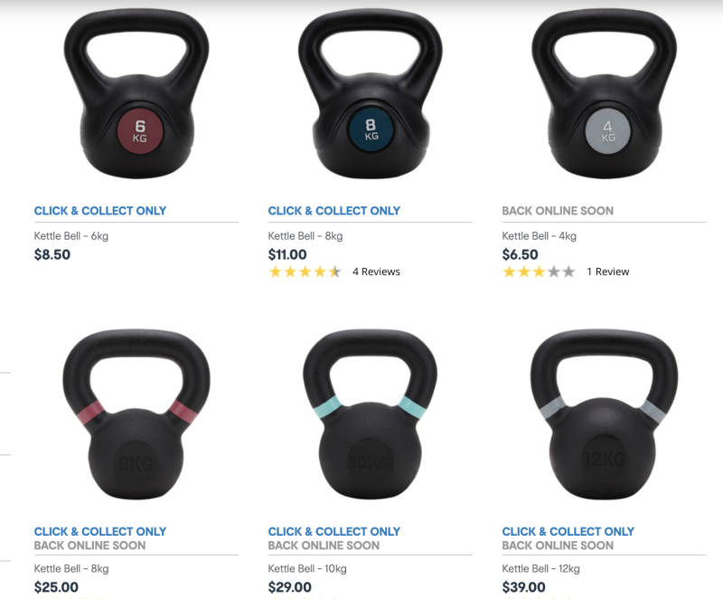 All but two of Kmart's kettle bells were sold out online. Photo: Kmart.