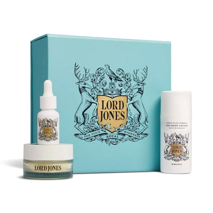 """Help Dad lean into the world of CBD topicals with Lord Jones' curated gift set, including a balm, lotion, and multipurpose tincture. $170, Lord Jones. <a href=""""https://lordjones.com/products/lord-jones-fathers-day-cbd-gift-set?"""" rel=""""nofollow noopener"""" target=""""_blank"""" data-ylk=""""slk:Get it now!"""" class=""""link rapid-noclick-resp"""">Get it now!</a>"""