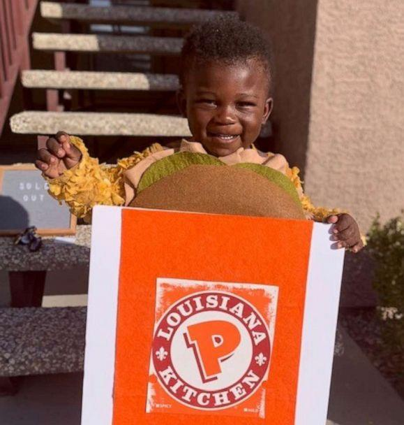 PHOTO: Nathan Houston Burch, 2, poses for a photo in his Popeyes Chicken Sandwich costume. (Courtesy Nidra Cummings)