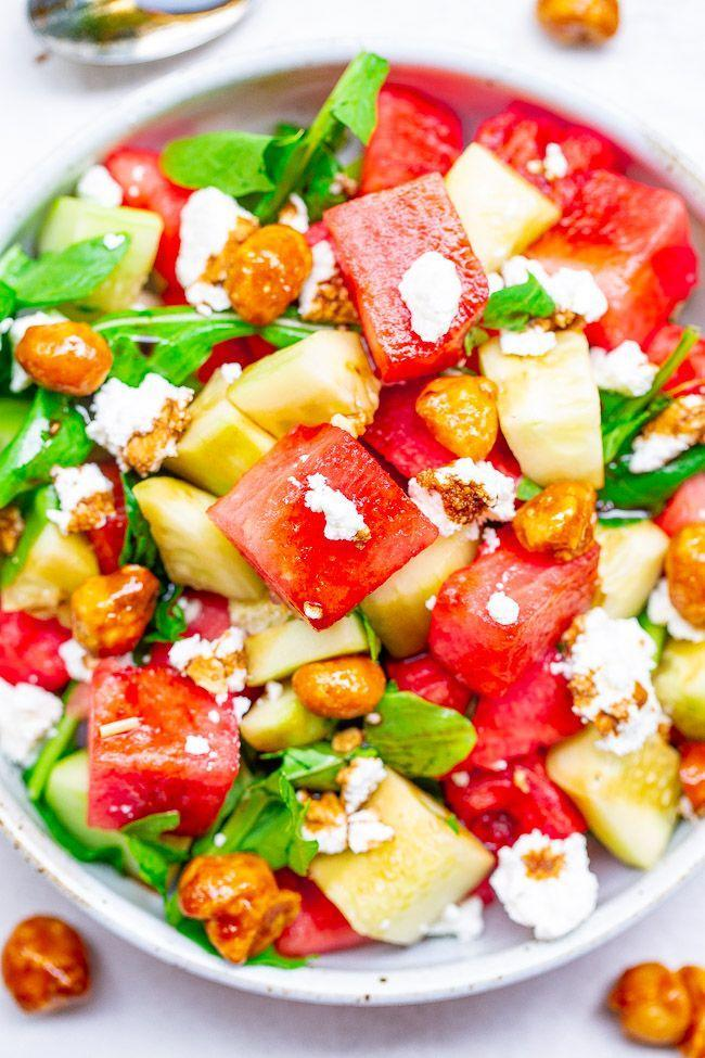 """<p>Complete your cookout menu with a refreshing salad that's perfect for a hot summer day—a unique combo of juicy watermelon, cooling cucumber, and creamy goat cheese.</p><p><a href=""""https://www.averiecooks.com/balsamic-watermelon-and-cucumber-salad/"""" rel=""""nofollow noopener"""" target=""""_blank"""" data-ylk=""""slk:Get the recipe."""" class=""""link rapid-noclick-resp"""">Get the recipe. </a></p>"""