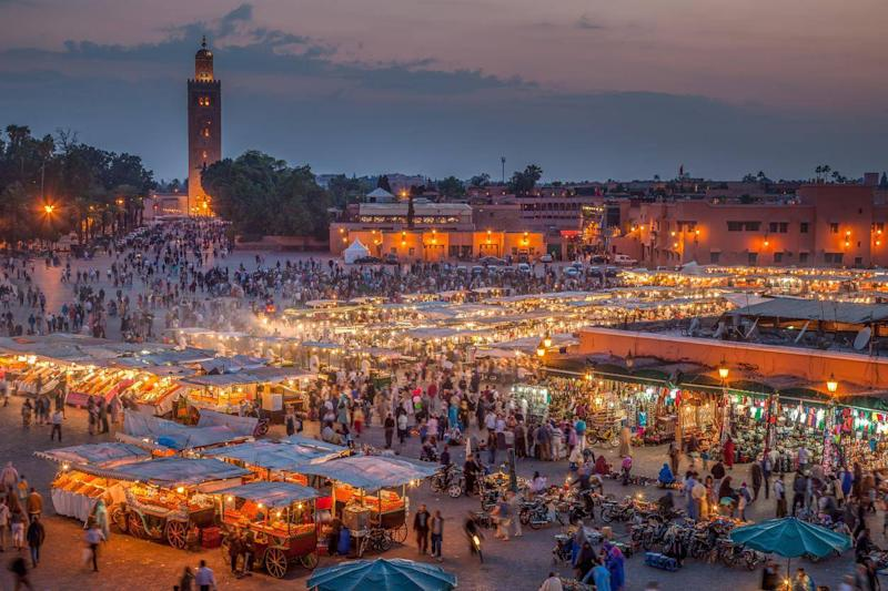 Jemaa el-Fnaa, the famous square and market place, at dusk in Marrakech, Morocco (Getty/iStock)