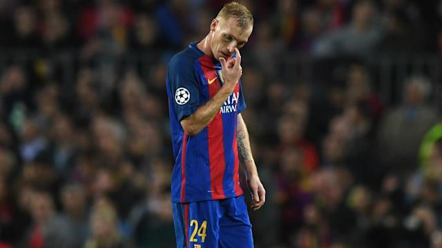Javier Mascherano has returned for Barcelona's meeting with Juventus, but the French defender has been left out