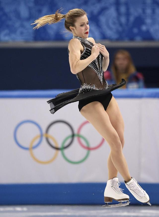 Ashley Wagner of the United States competes in the women's short program figure skating competition at the Iceberg Skating Palace during the 2014 Winter Olympics, Wednesday, Feb. 19, 2014, in Sochi, Russia