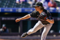 Miami Marlins starting pitcher Nick Neidert throws during the first inning of a baseball game against the New York Mets, Thursday, April 8, 2021, in New York. (AP Photo/John Minchillo)