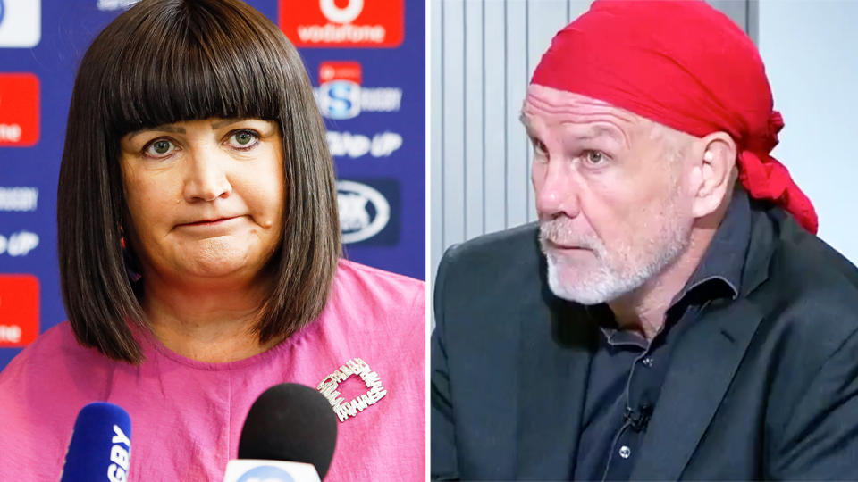 Raelene Castle and Peter FitzSimons, pictured here discussing the Rugby Australia crisis.