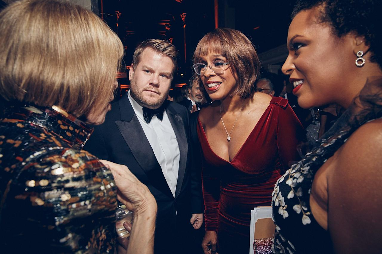 James Corden and Gayle King.