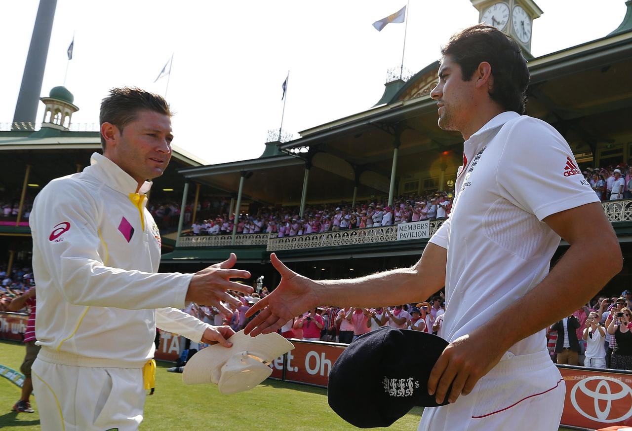 Australia's captain Michael Clarke (L) shakes hands with England's captain Alastair Cook after Australia won the fifth Ashes cricket test against England at the Sydney Cricket Ground January 5, 2014. A rampant Australia sealed a 5-0 Ashes series sweep by skittling England out for 166 to claim a 281-run victory with more than two days to spare in the fifth test at the Sydney Cricket Ground on Sunday. REUTERS/David Gray (AUSTRALIA - Tags: SPORT CRICKET)