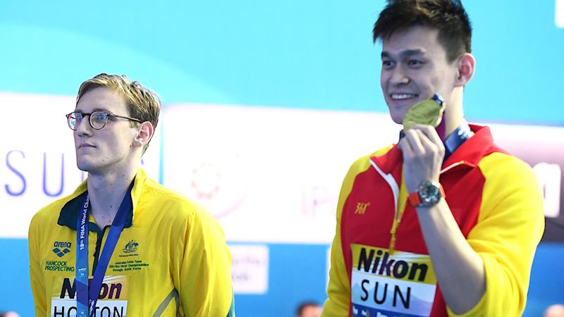 Mack Horton, pictured here refusing to share the podium with Sun Yang at the 2019 FINA World Championships.