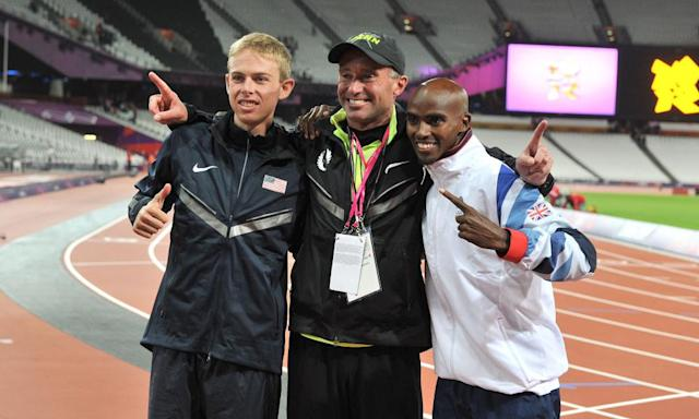 <span>Alberto Salazar (centre), seen here with Galen Rupp and Mo Farah at the 2012 Olympics, has been banned for four years.</span> <span>Photograph: Martin Rickett/PA</span>