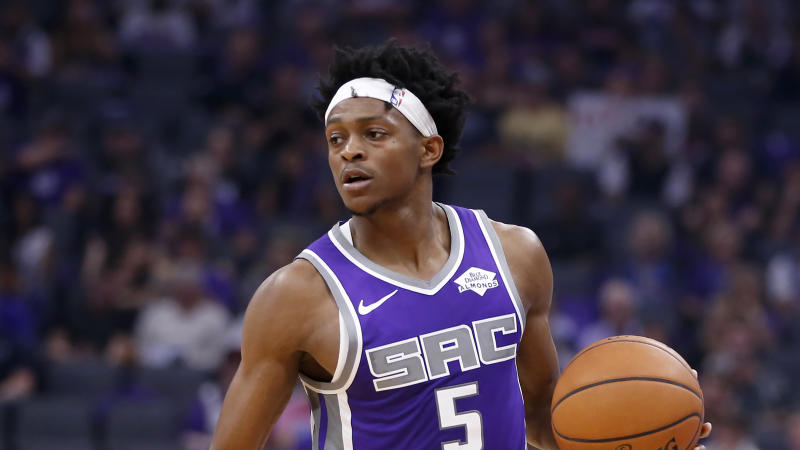 Sacramento Kings guard De'Aaron Fox during the second half of an NBA] basketball game against the Portland Trail Blazers in Sacramento, Calif., Friday, Oct. 25, 2019. The Trail Blazers won 122-112. (AP Photo/Rich Pedroncelli)