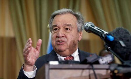 U.N. Secretary general Antonio Guterres addresses a news conference after his meeting with Somali President Mohamed Abdullahi Mohamed in Somalia's capital Mogadishu