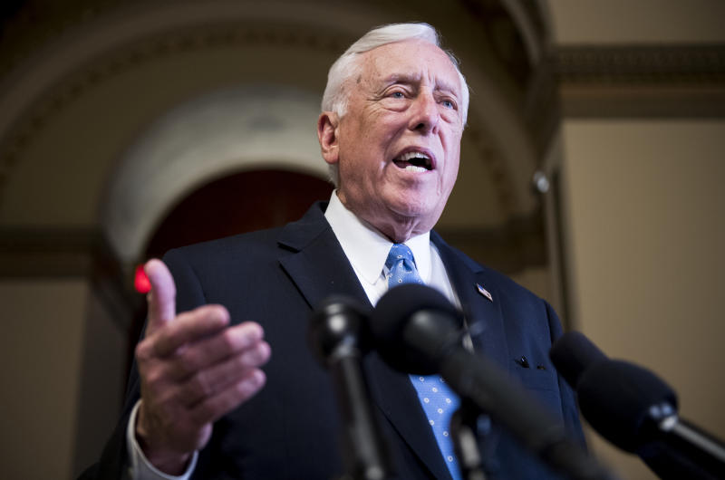 House Majority Leader Steny Hoyer, D-Md., speaks to reporters in the Capitol after Rep. Thomas Massie, R-Ky., objected to the unanimous consent for passage of the disaster aid bill in the House on May 28, 2019. (Photo: Bill Clark/CQ Roll Call/Getty Images)