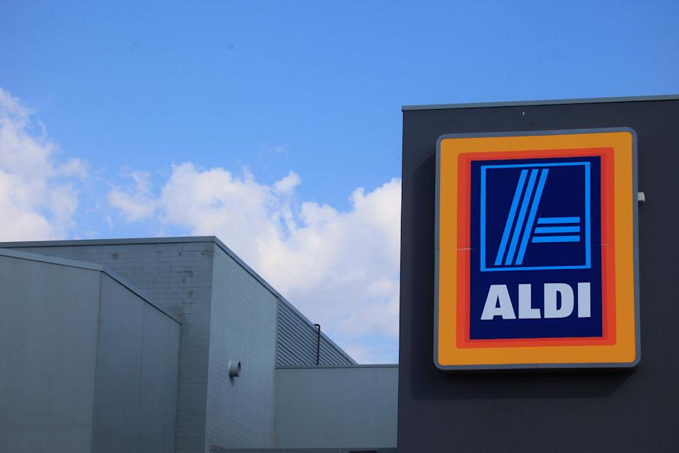 An Aldi supermarket sign is seen in Canberra.