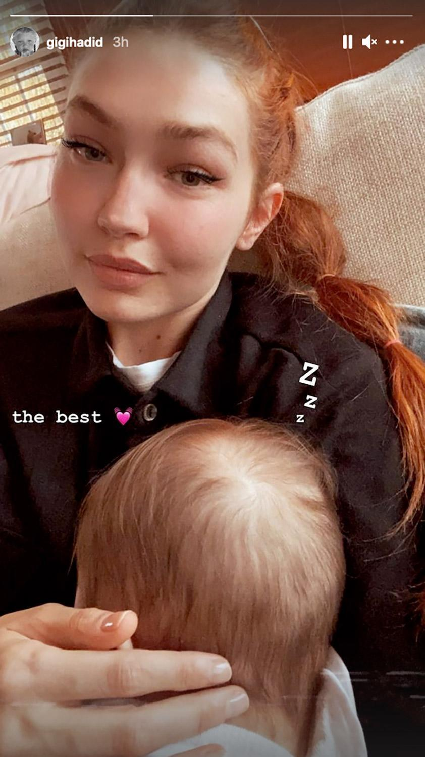 """<p>That same month, the supermodel <a href=""""https://people.com/parents/gigi-hadid-shares-nap-time-photo-of-baby-daughter-khai/"""" rel=""""nofollow noopener"""" target=""""_blank"""" data-ylk=""""slk:posted a photo"""" class=""""link rapid-noclick-resp"""">posted a photo</a> of Khai taking a nap in her arms, calling the tender moment """"the best."""" </p>"""