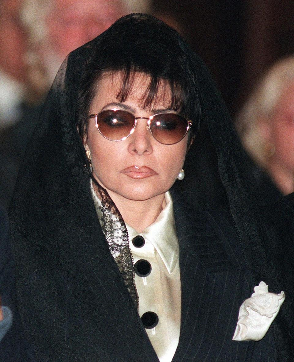 Reggiani pictured at her ex-husband's funeral in 1993 (AP)