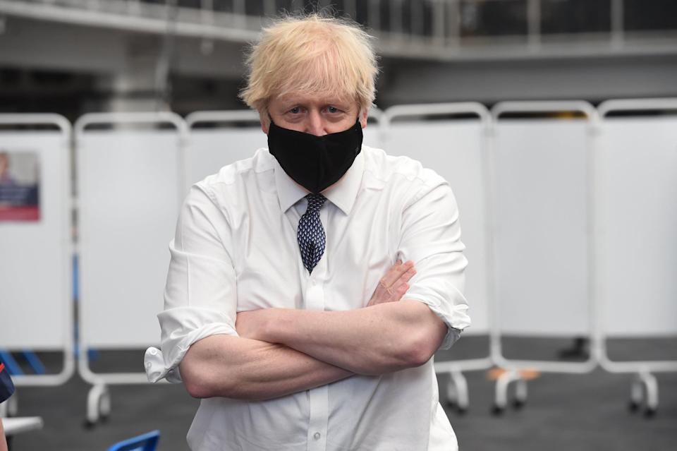 <p>Boris Johnson visiting a Vaccination Centre at the Business Design Centre in Islington on Tuesday</p> (Jeremy Selwyn)