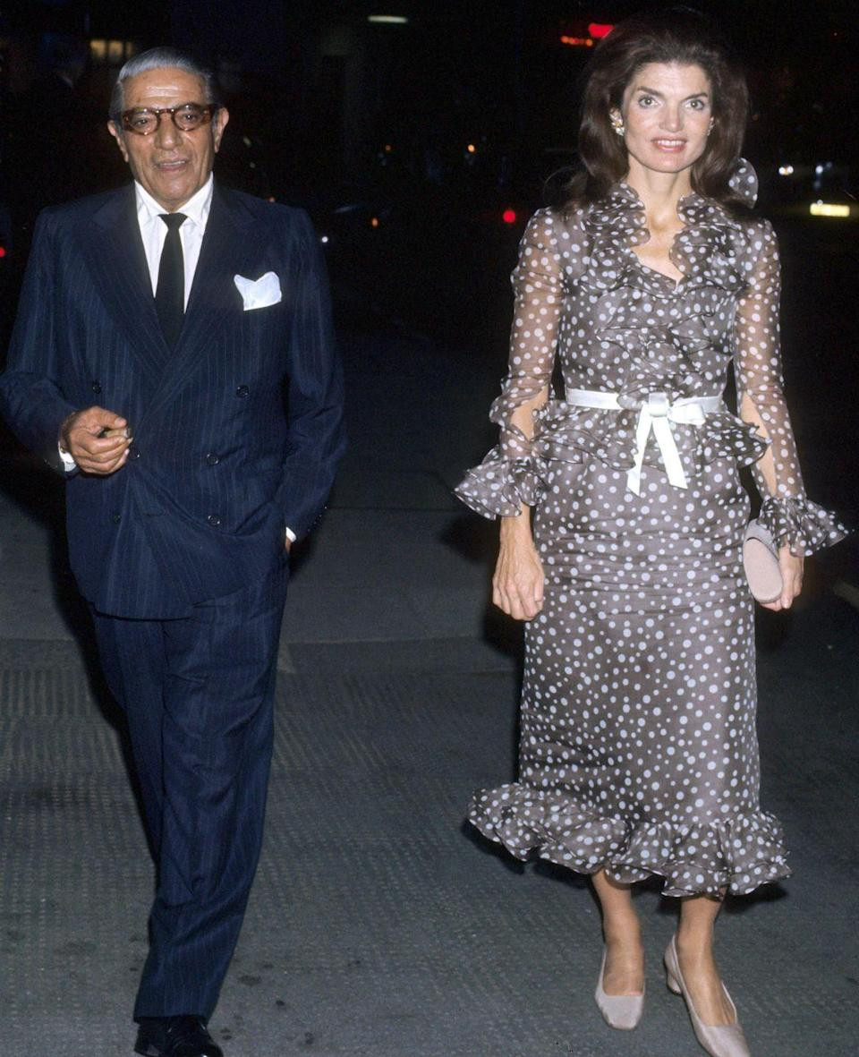 <p>Jackie out with her second husband, Aristotle Onassis, in New York City. </p>