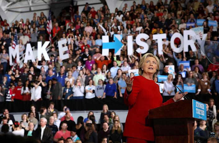<p>Democratic presidential nominee former Secretary of State Hillary Clinton speaks during a campaign rally at North Carolina State University on Nov. 8, 2016 in Raleigh N.C. (Photo: Justin Sullivan/Getty Images) </p>