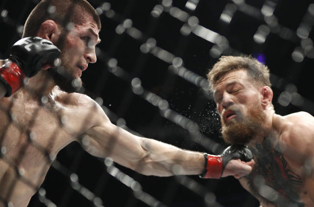 UFC 229, headlined by Khabib Nurmagomedov and Conor McGregor's lightweight title fight, earned a reported 2.4 million buys on pay-per-view. (AP Photo/John Locher)