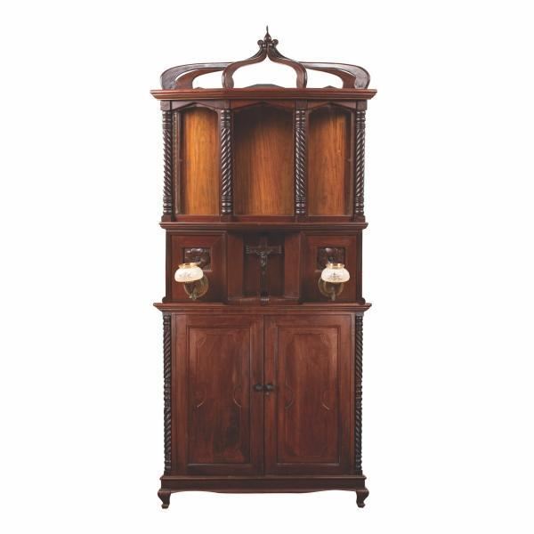 A rare sacristy altar cabinet, 1st quarter, 20th century, narra, glass panels, painted milk glass and brass lamps, wooden and bakelite cross