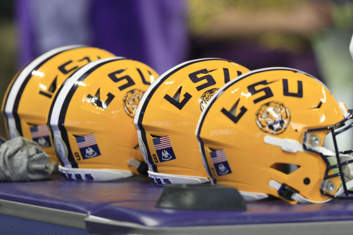 ATLANTA, GA - DECEMBER 28: LSU helmets on the bench prior to the Peach Bowl game between the LSU Tigers and the Oklahoma Sooners on December 28, 2019 at the Mercedes-Benz Stadium in Atlanta, Georgia.  (Photo by David J. Griffin/Icon Sportswire via Getty Images)