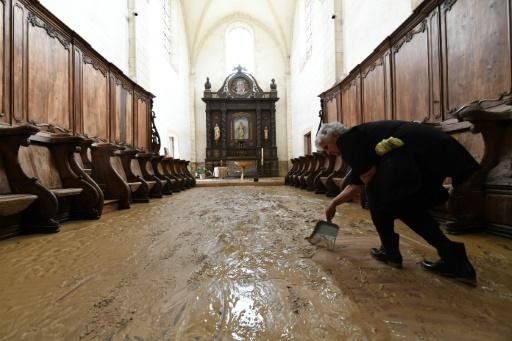 The 10th-century abbey at Chancelade in the southern Dordogne has been ravaged by flooding