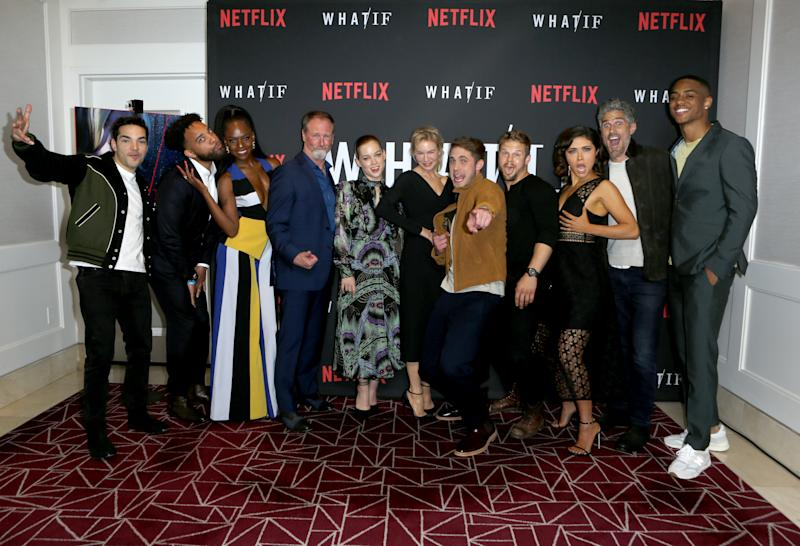 "WEST HOLLYWOOD, CALIFORNIA - MAY 16: Cast and crew attend the premiere of Netflix's ""What/If"" at The London on May 16, 2019 in West Hollywood, California. (Photo by Tasia Wells/Getty Images)"