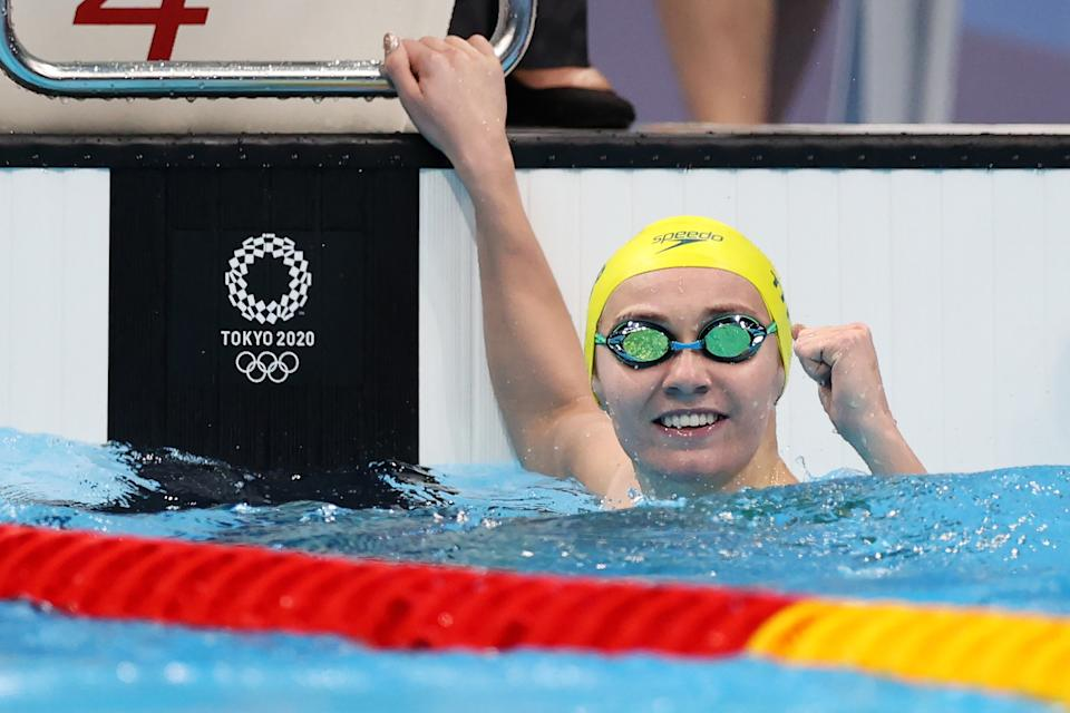 Ariarne Titmus (pictured) fist-pumps in celebrattion after winning the gold medal in the Women's 200m Freestyle Final at the Tokyo 2020 Olympic Games.