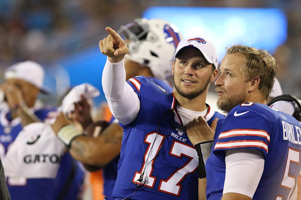 CHARLOTTE, NC - AUGUST 16: Josh Allen (17) quarterback of Buffalo during a preseason NFL football game between the Buffalo Bills and the Carolina Panthers on August 16 , 2019,at Bank of  America Stadium in Charlotte, N.C.  (Photo by John Byrum/Icon Sportswire via Getty Images)