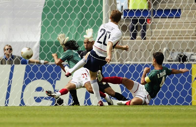 Brian McBride (20) and the USMNT beat Mexico in the 2002 World Cup knockout stage, the highest-stakes clash ever between the two sides. (Photo by Brian Bahr/Getty Images)