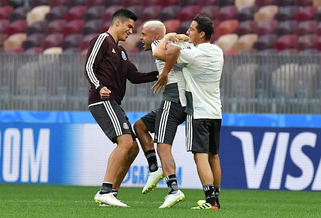 Mexico's players take part in horseplay during a training session at the Luzhniki stadium in Moscow on June 16, 2018, on the eve of their World Cup opener against Germany (AFP Photo/Yuri KADOBNOV)